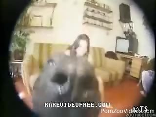 Pudgy brunette ends up getting fucked by a seductive dog